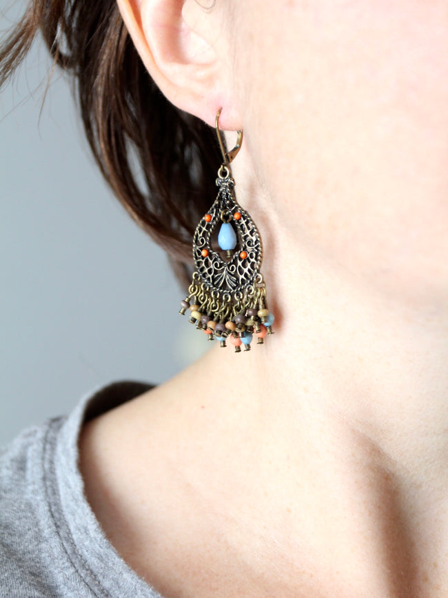 vintage filigree beaded drop earrings