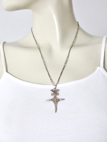 vintage filigree cross necklace