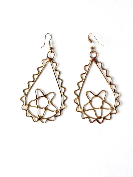 vintage brass boho drop earrings