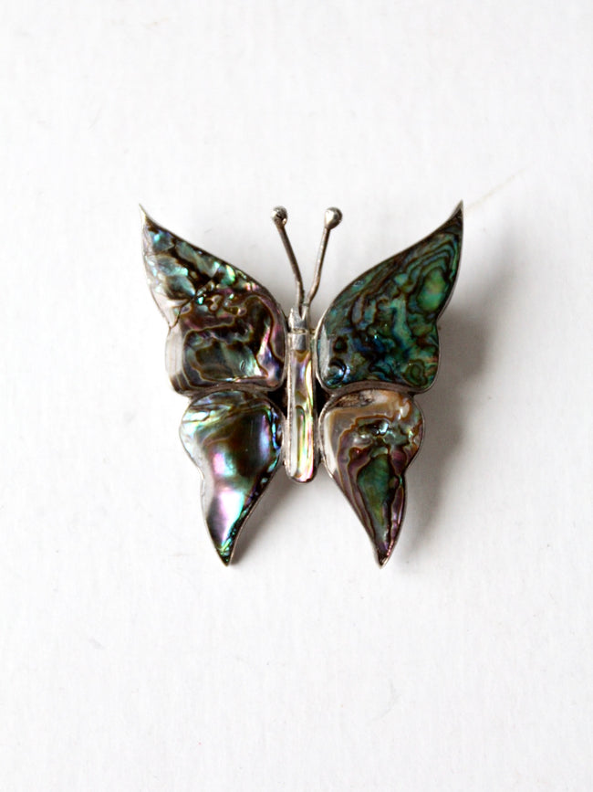vintage abalone butterfly brooch