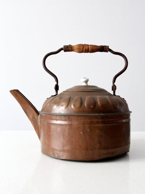 antique decorative copper tea kettle