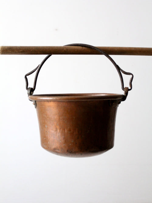 antique copper hearth pot