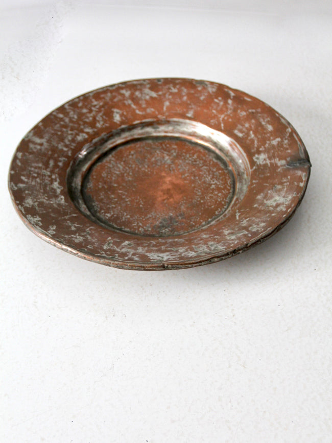 antique shallow copper bowl