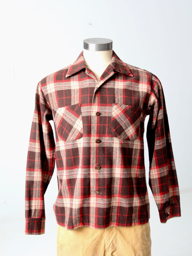 vintage 60s plaid wool shirt