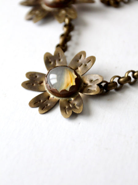 vintage floral brutalist necklace
