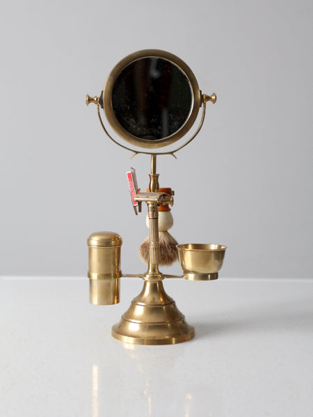 antique brass grooming stand with mirror and Gillette razor