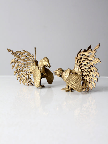 mid-century brass rooster pair