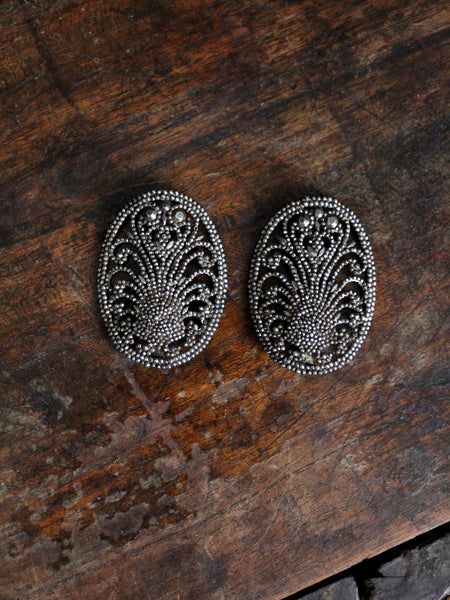 antique French steel cut shoe buckles