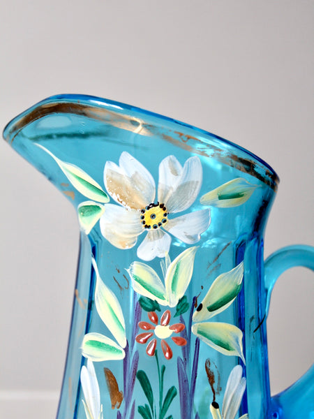 antique hand-painted glass pitcher set