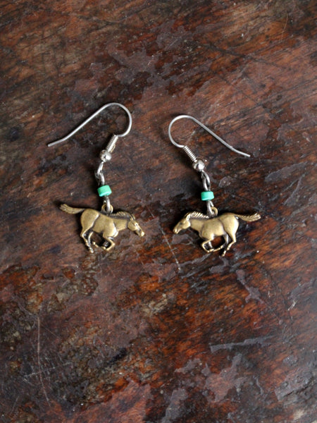 vintage horse dangle earrings