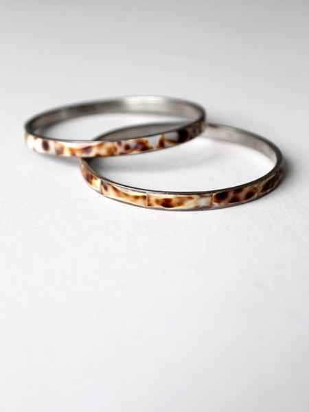 vintage speckled shell bangles pair