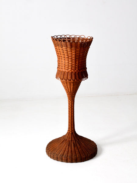 antique wicker plant stand