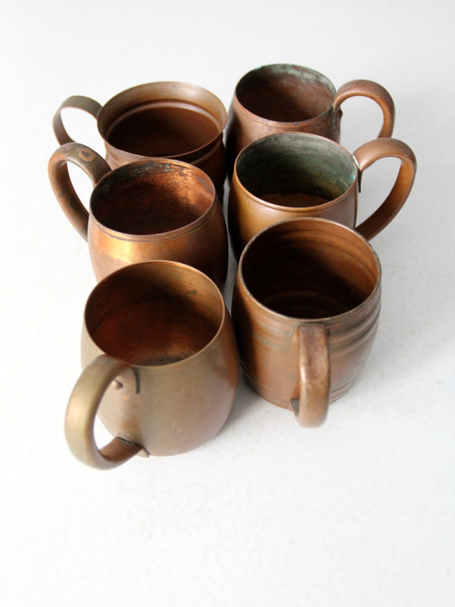vintage copper mugs set/6