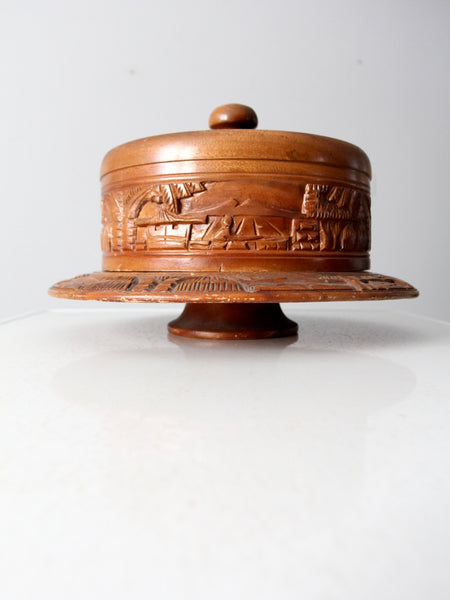 vintage carved wood cake stand