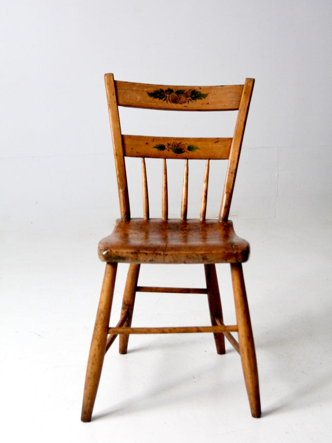 antique primitive chair with painted back