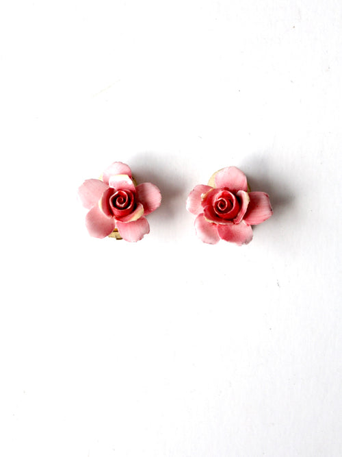 vintage English porcelain earrings