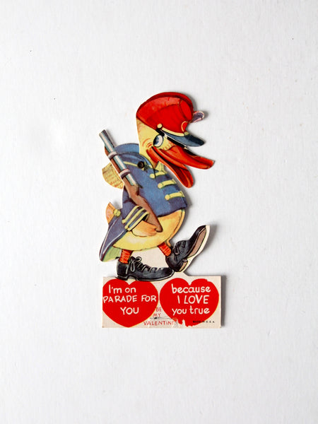 vintage 1930s Valentine's Day card, mechanical duck