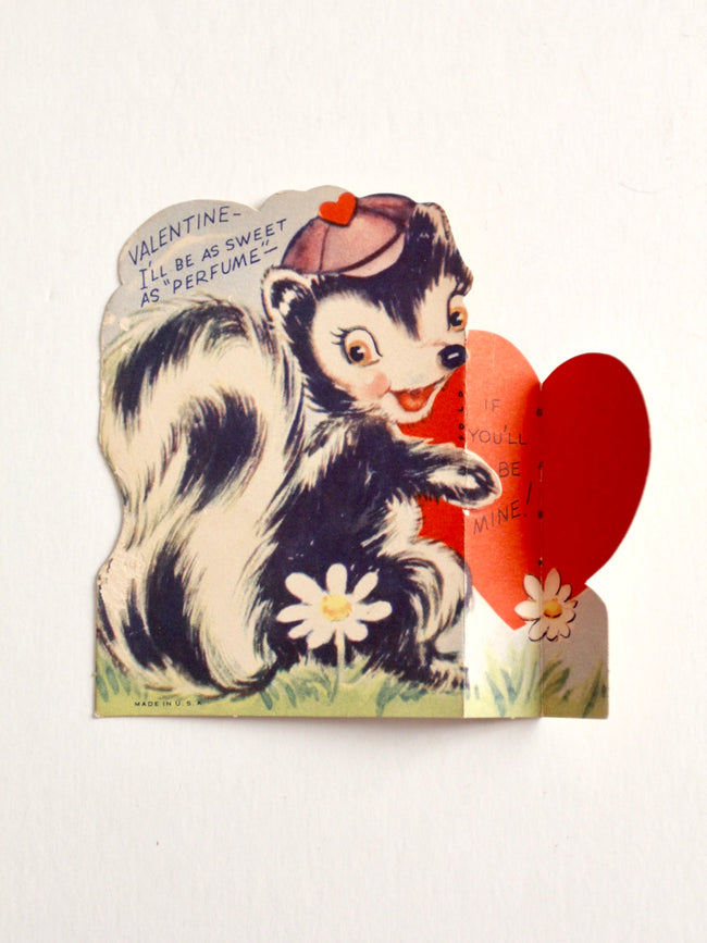 vintage Valentine's Day fold out skunk card