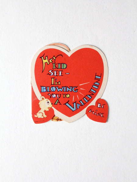 vintage fold out Valentine's Day heart card