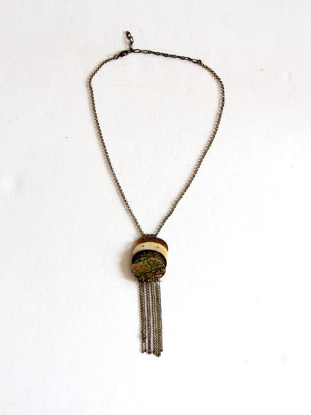 vintage boho abalone shell tassel necklace