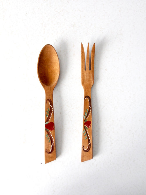 vintage hand painted serving utensils pair