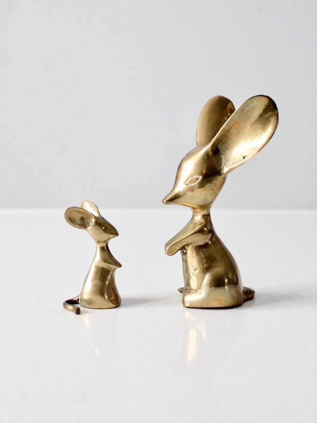 mid century brass mouse figurines pair