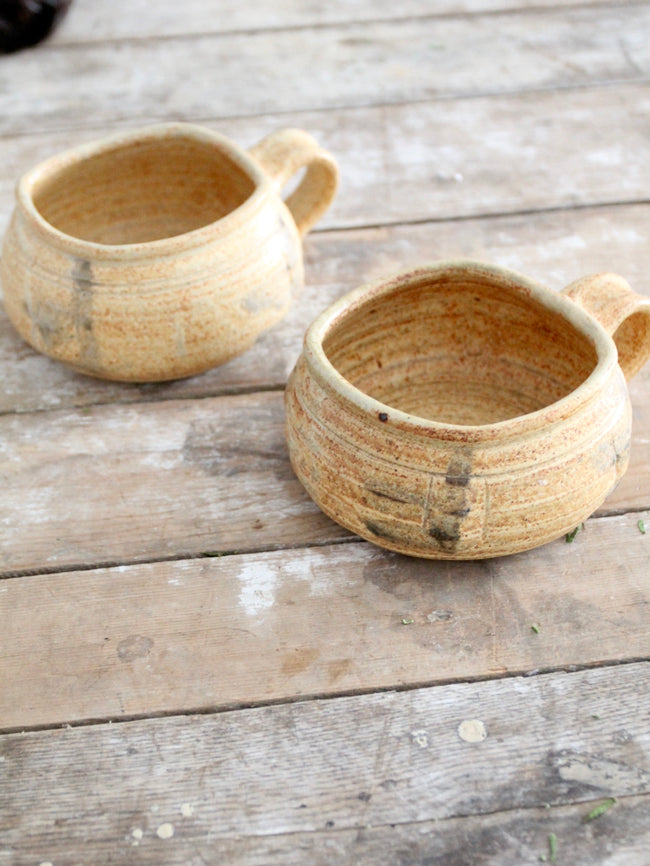 vintage studio pottery mugs pair