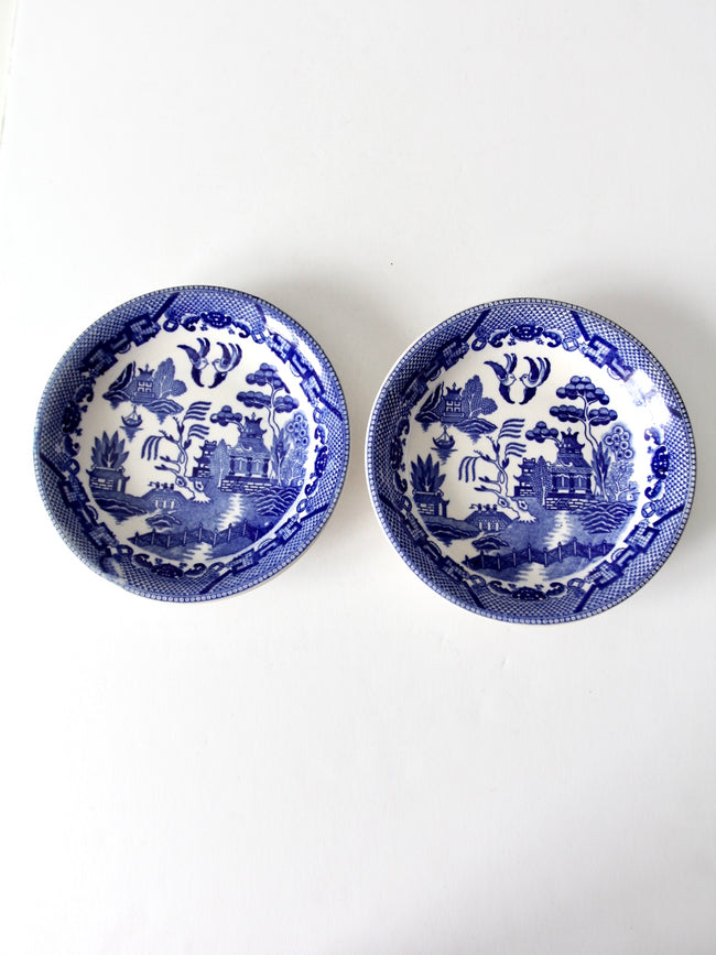 vintage Japanese Blue Willow bowls pair