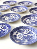 vintage Japanese blue willow saucers set/12