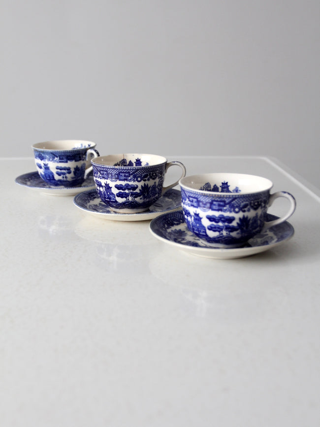 vintage Japanese blue Willow tea cup and saucer set/3