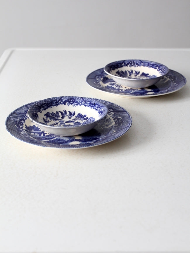 vintage Japanese Blue Willow dishes 4 pc