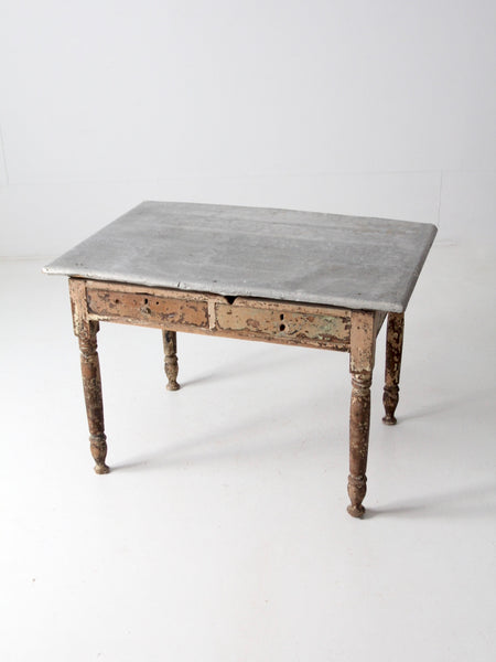 antique metal top farmhouse table