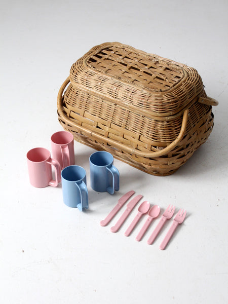 vintage picnic basket set