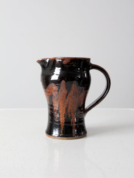 vintage signed studio pottery pitcher