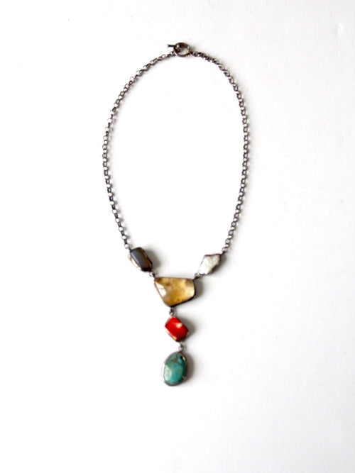 vintage mixed gemstone drop necklace