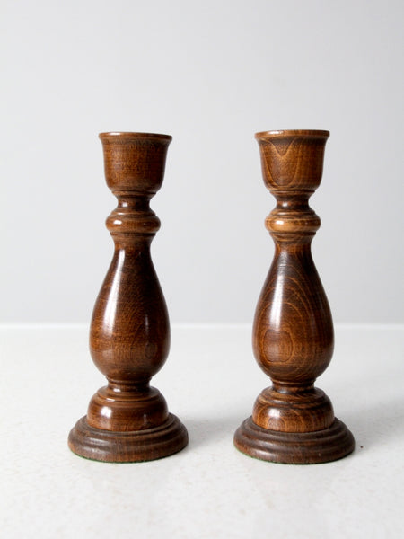 vintage Basketville wood candle holders pair