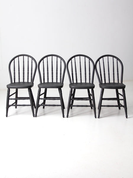 vintage black spindle back chairs set/4