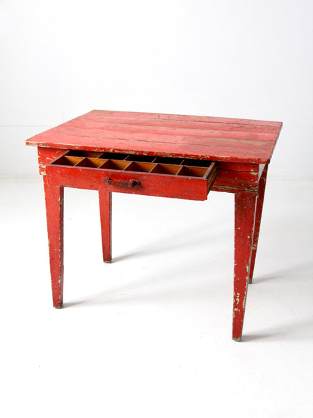 antique red desk with money drawer