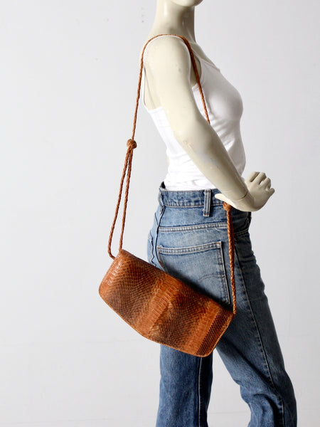 vintage 70s snakeskin shoulder bag