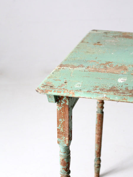 antique painted wood side table