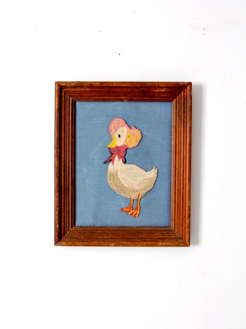 vintage framed Mother Goose embroidery