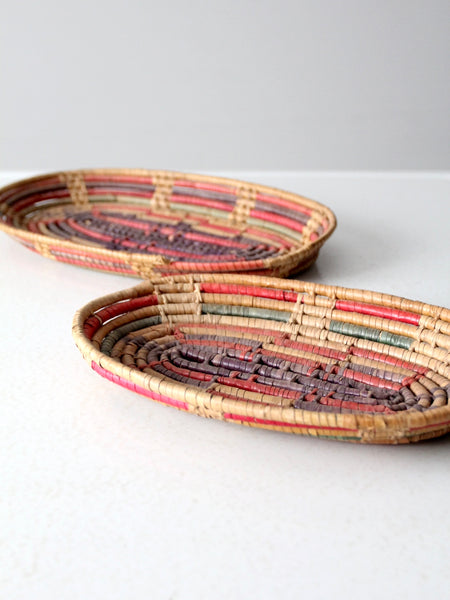 vintage coil baskets pair