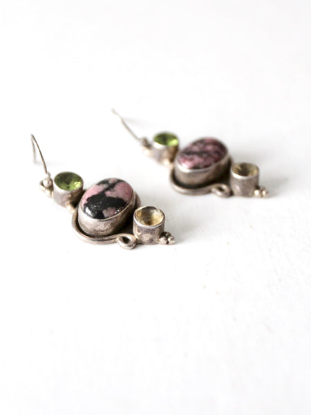 vintage rhodonite drop earrings