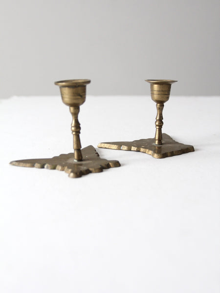 vintage brass butterfly candle holders pair