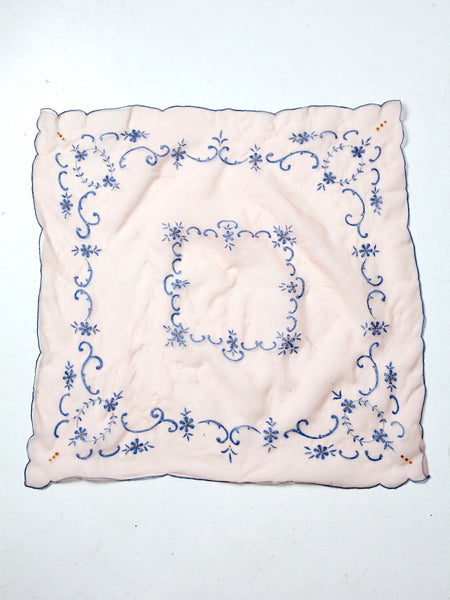 vintage sheer pink scarf with embroidery