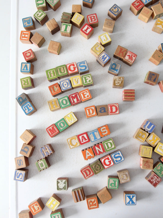 vintage toy alphabet blocks collection