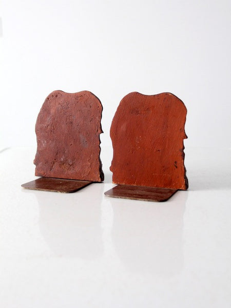 vintage composite wood horse bookends