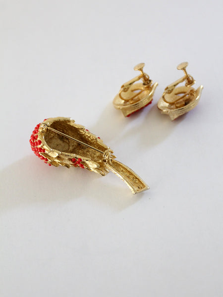 vintage 40s brooch and earring set