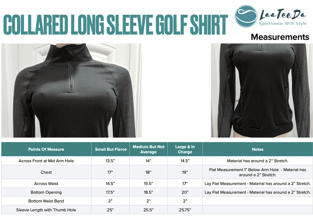 Long sleeve golf pullover with pocket size chart