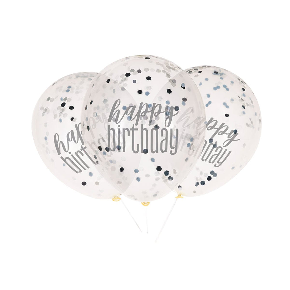 Happy Birthday Noir/Argent - Ballon Latex A/Confetti 6/pqt
